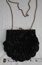 Beaded Hand Bag Clutch Purse Womens Black