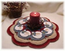 """Primitive Wool Felt Candle Mat Penny Rug Kit, Wool Embroidery, """"BELIEVE"""""""