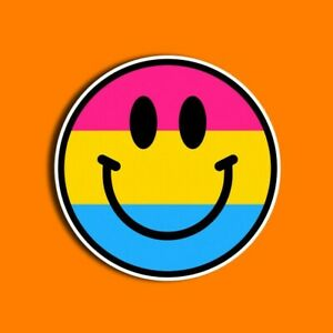 Pansexual Pride Sticker, Includes Two (2) Stickers, Smiley Face, LGBT, Gifts