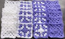 New x 24 White & Lavender Handmade Crochet Granny Squares,4 rounds style 2