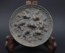 Chinese collection antiques exquisite Beast grape emblazonry bronze mirror