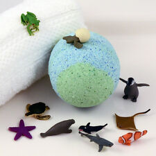 "KIDS XL Green & Blue Bath Bomb with Sea Creature Bath Toy Inside 3"" diameter"