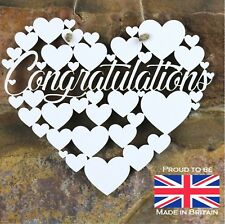 Congratulations White Love wall hanging heart decoration well done gift sign