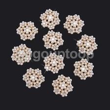 10x Crystal Pearl Flower Bead Flatback Scrapbook Craft Embellishment DIY 25mm