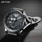 Fashion Unifun Men Sports Date Analog Quartz Leather Stainless Steel Wrist Watch