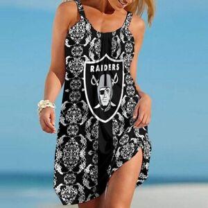 Las Vegas Raiders Women's Summer Sleeveless Dress Floral Beach Swing Sundress