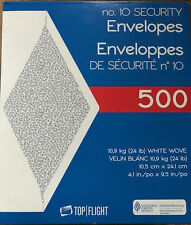 #10 Business Security Envelopes 4-1/8 X 9-1/2  White Tinted Paper 24 Lb 500Ct