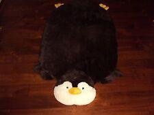 * NEW Faux Fur Boys Girls SOFT Penguin Large Bedroom Rug White Dark Brown