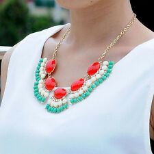 Red Gothic Vintage Lady Bubble Fringe Bib Party Statement Jewelry Necklace Gift