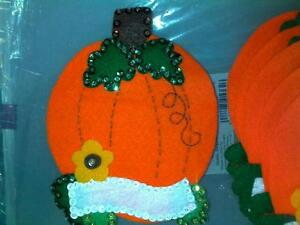 "Thanksgiving Finished Felt ""Pumpkin"" Utensil Holder 6 Handstitched Personalized"