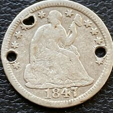 1847 Seated Liberty Half Dime 5c Better Grade VF Details 3 Holes #24489