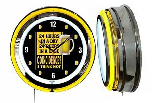 "24 Hours 24 Beers Coincidence 19"" Double Neon Clock Yellow Man Cave Garage Mugs"