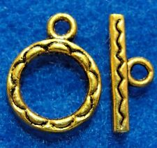 10Sets Tibetan Antique Gold Round Toggle Clasps Connectors Hooks Findings C146