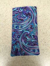 Sunglass / Eyeglass Soft Fabric Case - Beautiful Purple Paisley Design