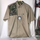 Mossy Oak NWT Men's Short Sleeve Shooting Shirt Size 3XL  Tan and Camo