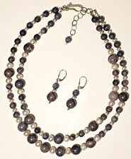 Blue Coral White Sea Pearl Double Strand Sterling Necklace & Earing Set Handmade