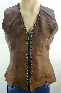 Cripple Creek Women's Brown Studded Leather Zip Up Vest Size S Western Cowgirl