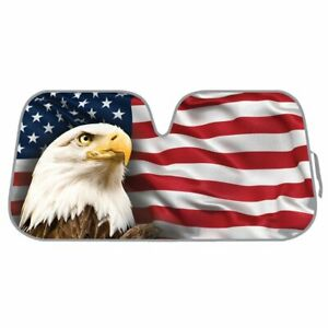 Bdk AS-764 Usa Patriotic American Eagle Flag Front Windshield Shade 58 X 28 INCH
