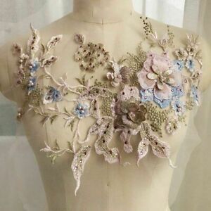 Embroidered Flowers Patches Lace Pearl Beaded Sew on Applique Wedding Dress DIY