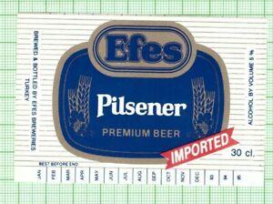 TURKEY Efes Malt San AS Pilsener 30cl 93-95 beer label B084 072