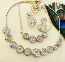 Indian Pakistan Bollywood American Diamond Necklace Combo White Party Wear
