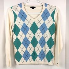Tommy Hilfiger Womans V-Neck Sweater Size Large Cream Blue