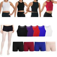 Kids Girls Dance Sport Outfits Bra Crop Tops Shorts Bottoms Gym Ballet Dancewear
