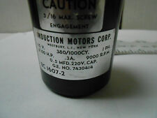 BC1607-2 INDUCTION MOTOR 1/100HP-115V-380-1000CY/9000RPM .05MFD-220V CAP NOS
