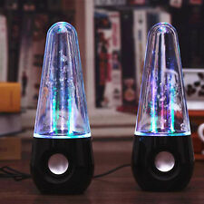 Pair Of LED Water Dancing Fountain USB Stereo Speakers For Tablet Phone PC MP4