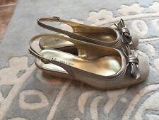 Anne Klein Natural Beige Pewter Gold Sling Back Wedge Heels Shoes 8 Nice!
