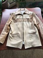 "1950s Womens MNHandmade By Uber Buckskin LeatherZipper Fringe Jacket 42"" Lined"