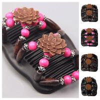 Trend African Hairclip Haarklammer Butterfly Holzdesign Haarkamm Blüten Design