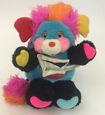 1986 Mattel Popples Punkster Popple Guitar Earring Black Rock Star Plush 11""