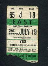 Original 1975 Yes Concert Ticket Stub Maple Leaf Gardens Toronto Relayer Tour