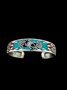Black Widow Spider Cuff, 925 Sterling Silver, Turquoise & Red Coral, Size 7.5