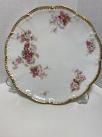 """Haviland Limoges France Floral Pink Rose Gold Scalloped Edge 7 3/8"""" Plate"""