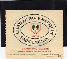 SAINT EMILION GCC VIEILLE ETIQUETTE CHATEAU PAVIE MACQUIN 1975 RARE   §20/09/16§