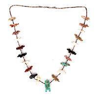 Native American Single Strand Bear Multicolored Mixed Animals Fetish Necklace