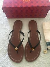 dd4f8032ef50b Tory Burch TERRA Black Logo Flip Flop Thong Sandal Size 10 New In Box