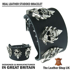 Mens Real Leather Gothic Punk Hooded Skull Metal Stud Wristband Made In England