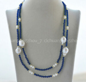 40'' 4mm Emerald/Amethyst/Sapphire/Agate & White Keshi Baroque Pearl Necklace