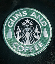 STARBUCKS GUNS & COFFEE EMBROIDERED USA ARMY IRON ON PATCH