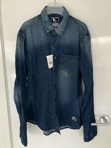 Brand New With Tags Mens PRPS Denim Button Up Shirt Sz L
