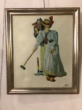 "Vintage Painting, Oil On Canvas Victorian Lady Croquet by ""Lee"".12pix.MAKE OFFER"