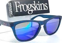 NEW* Oakley Frogskins Matte Blue Woodgrain POLARIZED Blue Galaxy Sunglass 9013