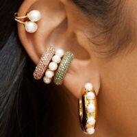 Fashion Ear Cuff Wrap Rhinestone Cartilage Clip Earrings No Piercing Jewelry 1Pc