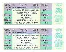 MR BUNGLE Unused CONCERT TICKET LOT of 2 Stub BOSTON 11/24 1995 faith no more