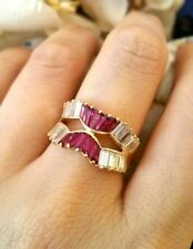 Estate 1.34 ct Ruby & 1.77 ct Diamond Cocktail Band in 18k Yellow Gold - HM1629