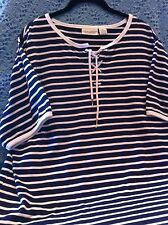 NOS SEARS CLASSIC ELEMENTS WHITE/BLACK STRIPED SHORT SLEEVE KNIT SHIRT SIZE XL