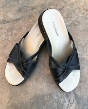 ROCKPORT Women's Size 7 Black Gold Leather Low Wedge Slides Sandals Brazil EUC